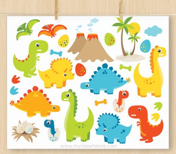 Dinosaur Fun Boys Clipart