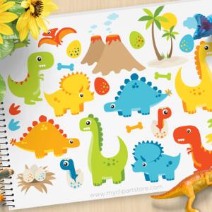 Dinosaur Fun Boy Clipart