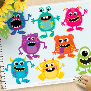 Fluffy Monsters Clipart