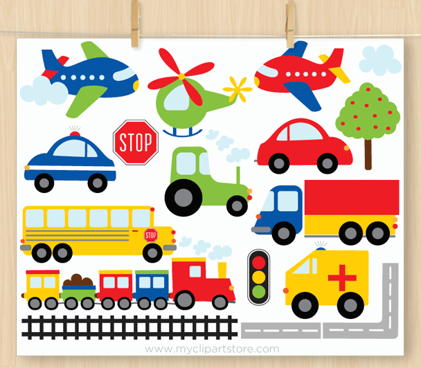 Preferred Trains Planes Trucks - Premium Vector Clip Art by MyClipArtStore LL68
